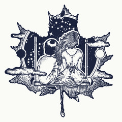 Love tattoo and t-shirt design. Girl and boy in autumn leaves. Symbol of romantic, dream, motivation, adventure, immortal