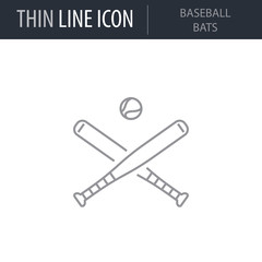 Symbol of Baseball Bats. Thin line Icon of Sport Equipment. Stroke Pictogram Graphic for Web Design. Quality Outline Vector Symbol Concept. Premium Mono Linear Beautiful Plain Laconic Logo