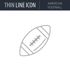 Symbol of American Football. Thin line Icon of Sport Equipment. Stroke Pictogram Graphic for Web Design. Quality Outline Vector Symbol Concept. Premium Mono Linear Beautiful Plain Laconic Logo