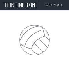 Symbol of Volleyball. Thin line Icon of Sport Equipment. Stroke Pictogram Graphic for Web Design. Quality Outline Vector Symbol Concept. Premium Mono Linear Beautiful Plain Laconic Logo