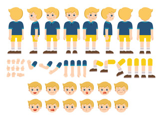 Mascot creation kit of little boy for different poses . Vector constructor with various views, emotions, poses and gestures. Schoolboy character creation set.