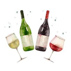 赤ワインと白ワインで乾杯パーティ イラスト 水彩