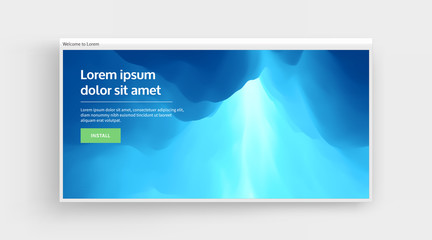Website or mobile app landing page. Sky with clouds. Sun rays bursting through the clouds. 3d vector Illustration.