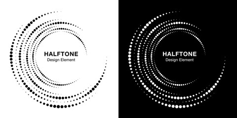 Wall Mural - Set of Halftone vortex circle frame dots logo isolated on background. Circular swirl design element for treatment, technology. Incomplete round border Icon using halftone circle dots texture. Vector