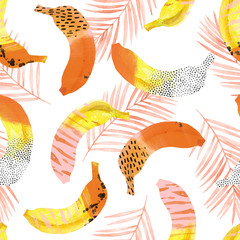 Spoed Fotobehang Aquarel Natuur Fun bananas and palm leaves print in 80s 90s pop art style.