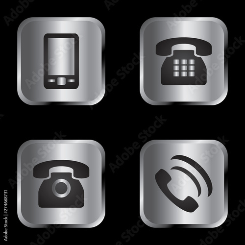 Vector icon set: silver communication icons - mobile phone, envelope