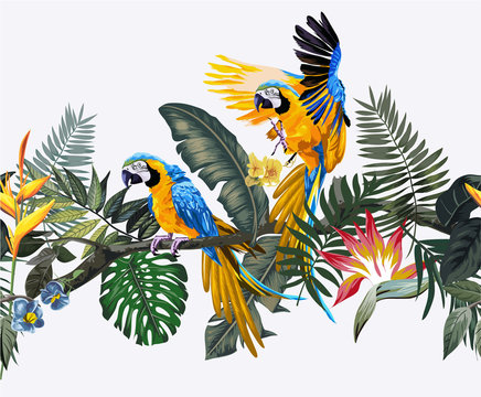 macaw bird in exotic forest seamless pattern