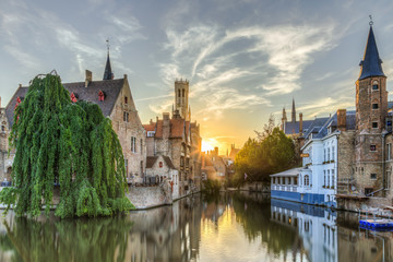 Wall Murals Bridges the Rozenhoedkaai in Bruges - a must see for the tourist who visit the historic city of Bruges in Belgium