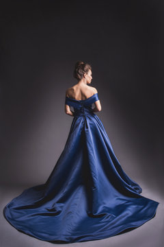 Beautiful woman in elegant blue dress with plume posing on dark background. Back view