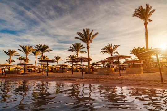 Beautiful romantic sunset over a sandy beach and palm trees. Egypt. Hurghada.