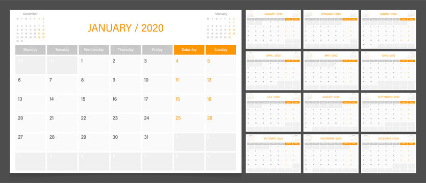 2020 calendar planner design template vector week start Monday.