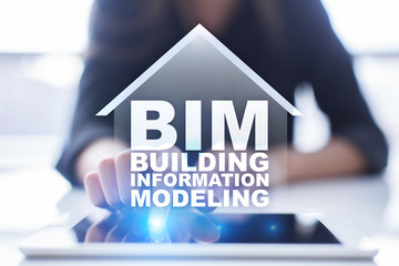 Wall Mural - BIM - Building information modeling is a process the generation and management of digital representations of physical and functional characteristics of places.