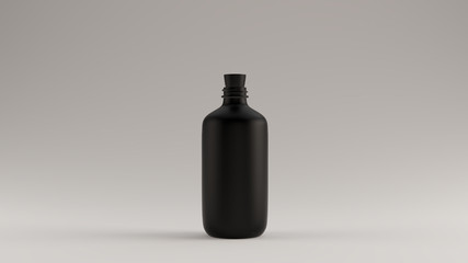 Black Glass Bottle with a Cork Stop 3d illustration 3d render