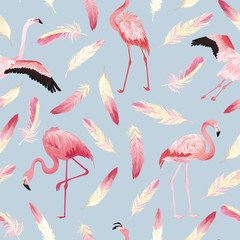 Tuinposter Flamingo Tropical Flamingo seamless vector summer pattern with pink feathers. Bird background for wallpapers, web page, texture, textile.
