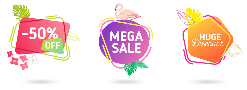 Set of Summer sale banner template. Liquid abstract geometric speech bubble with tropic flowers and flamingo, Tropical backdrop, Promo badge seasonal offer, promotion, advertising. Vector illustration