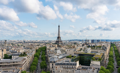 Wall Mural - Paris city in France with Eiffel tower iconic and symbol of France in summer
