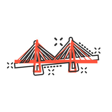 Bridge sign icon in comic style. Drawbridge vector cartoon illustration on white isolated background. Road business concept splash effect.