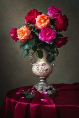 Floral still life with luxurious bouquet of roses