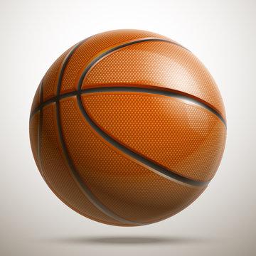 3d realistic shiny basketball championship Design banner. Illustration banner with logo Realistic single orange basketball ball Isolated on white background. Beautiful design orange classic ball