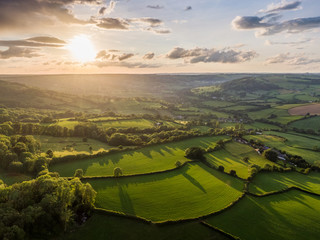 Dorset Countryside AONB sunset aerial Wall mural