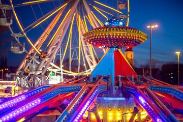 Foto op Aluminium Amusementspark Amusement park in the night