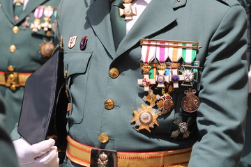 Medallas de un Guardia Civil del Ejército de España Wall mural