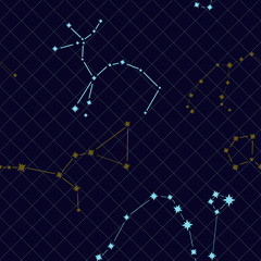 Seamless pattern with constellations