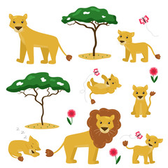 Vector cartoon illustration of lion family collection. African animals, trees and flowers. King of animals. Ideal for nursery design.