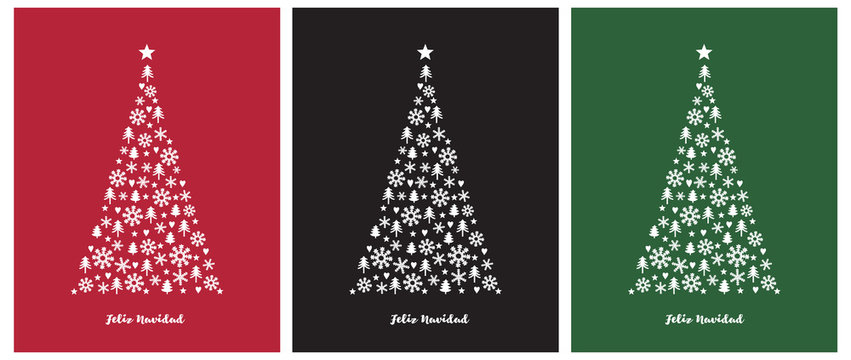 Merry Christmas-Feliz Navidad, Spanish Christmas Vector Card.White Christmas Tree on a Red, Black and Green Background. Christmas Illustration in 3 Different Colors.Tree Made of Star, Heart, Snowflake