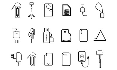 Accessories / Supplies for mobile phones silhouette outline icons
