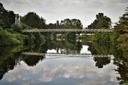 Howley suspension footbridge at victoria park. This bridge is around 100 years old and is hidden gem in warrington town. England