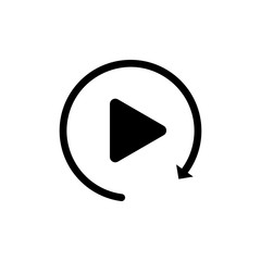 Black Video play button like simple replay icon isolated on white background. Vector Illustration