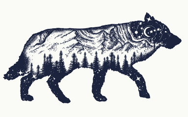 Running wolf double exposure tattoo art. Symbol tourism, travel, adventure, outdoor. Animals t-shirt design