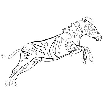 Zebra one line drawing. Continuous line Africa Animal Vector Art