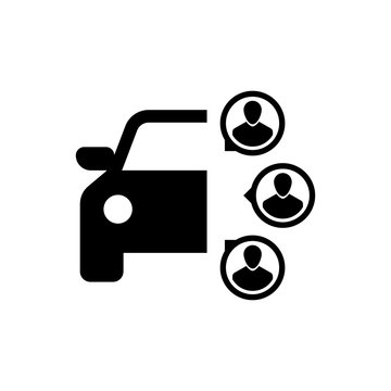 Black Car sharing with group of people icon isolated. Carsharing sign. Transport renting service concept. Vector Illustration