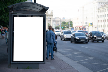 advertising mockup for ad placement advertising in the bus shelter Fotomurales