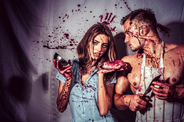 couple in blood. human internal organ trade. cannibalism. donation and donar. meatman in butcher shop, butchery. zombie. medical transplantation. bloody halloween. anatomy. Red Fresh tasty beef