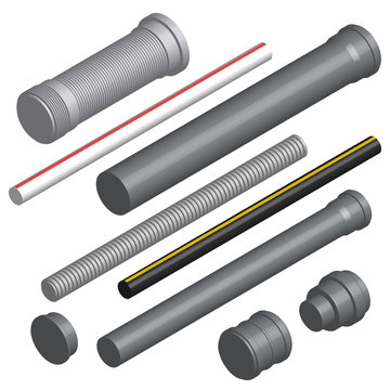 Set of 3D plastic pipes and connectors, vector illustration.