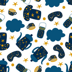 seamless pattern with star teapot cap jam on a white background - vector illustration, eps