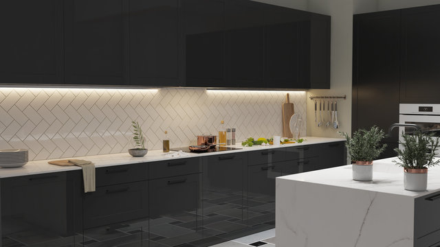 Modern Kitchen interior with light strip