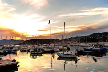 Il porto di Lerici al tramonto