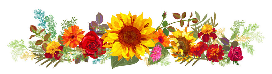 Horizontal autumn's border: orange, yellow sunflowers, red roses, marigold (tagetes), gerbera daisy flowers, green twigs on white background. Illustration in watercolor style, panoramic view, vector