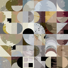 abstract geometric background pattern, retro/vintage style, with circles, squares, strokes and splashes