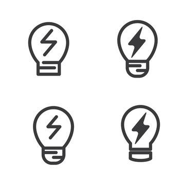 Bulb vector illustration with simple line design suitable for icon in ecology design.