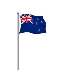 World flags. Country national flag post transparent background. New Zealand. Vector illustration.