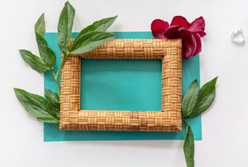 the layout of the frame with peonies on blue background