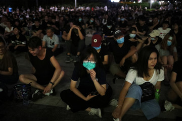 People take part in a rally against police brutality in Hong Kong,
