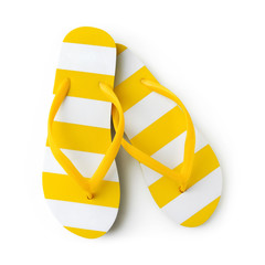 Top view of summer beach yellow striped flip flop isolated on white background sea holiday vacation and travel concept