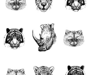 Seamless pattern of hand drawn sketch style portraits of animals: tiger, rhino, raccoon and leopard isolated on white background. Vector illustration.