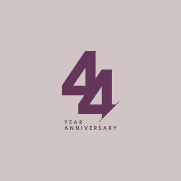44 Years Anniversary Celebration Vector Template Design Illustration